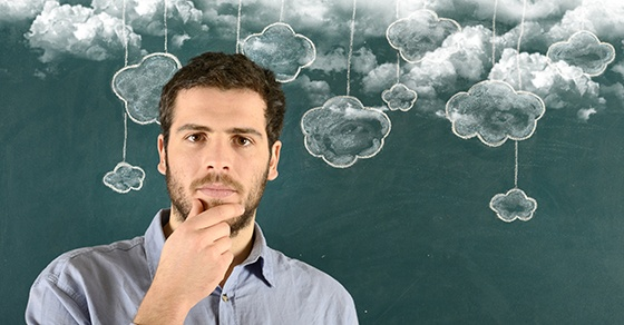 Young man and cloud computing concept